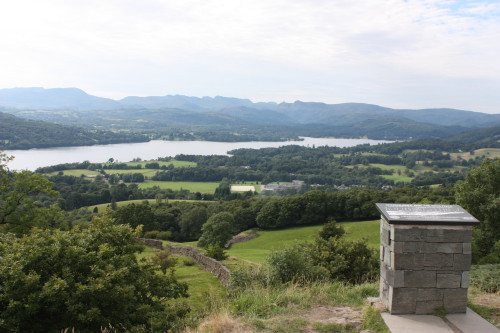 "View from Orrest Head overlooking the waters of Windermere and the location of the ""lost"" village of Calgarth Estate in the middle distance."