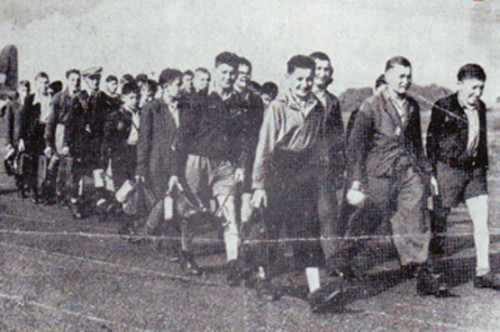 Jewish children arriving at Crosby on Eden airfield near Carlisle