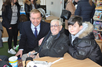 Tim Farron with Sam Gontarz and his grandson